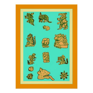 Glyphs mayas antiguos póster