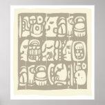 Glyphs mayas Woodblock Poster