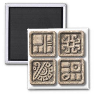 Glyphs-piedra maya imán cuadrado