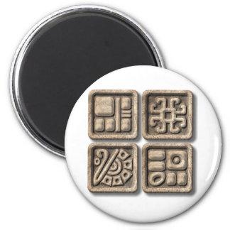 Glyphs-piedra maya imán redondo 5 cm
