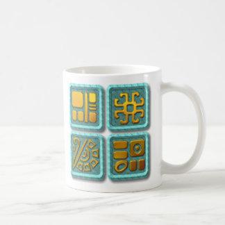 Glyphs-turquesa maya taza