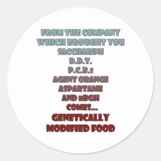 GM Food Round Sticker