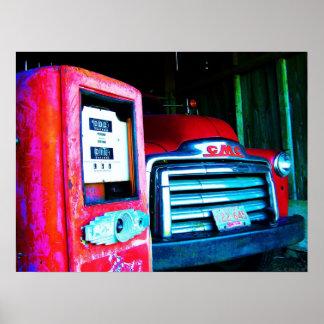 GMC viejo que cultiva el camión Posters