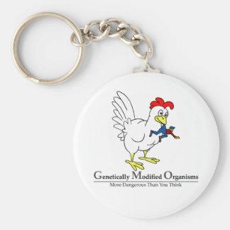 GMO Chicken Basic Round Button Keychain