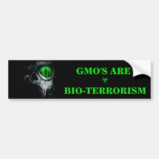GMO ES PEGATINA PARA EL PARACHOQUES DEL BIOTERRORI ETIQUETA DE PARACHOQUE