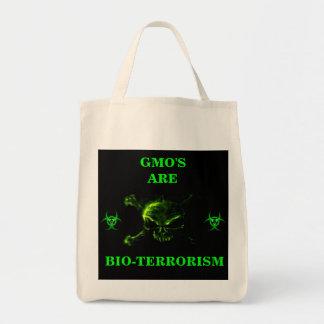 GMO ES TOTE ORGÁNICO DEL BIOTERRORISMO BOLSA TELA PARA LA COMPRA