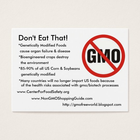gmo-free, Don't Eat That!, *Genetically Modifie... Business Card