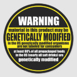 GMO (genetically modified organism) warning label Classic Round Sticker