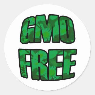GMO libera en pegatinas verdes Pegatina Redonda