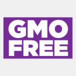 GMO LIBRE (PÚRPURA) RECTANGULAR PEGATINAS