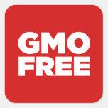 GMO LIBRE (ROJO) CALCOMANIA CUADRADAS PERSONALIZADAS