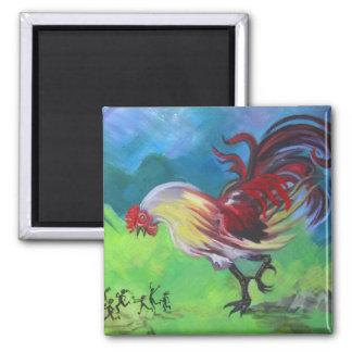 GMO Rooster 2 Inch Square Magnet