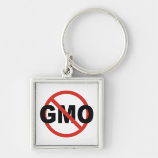 GMO Silver-Colored SQUARE KEYCHAIN