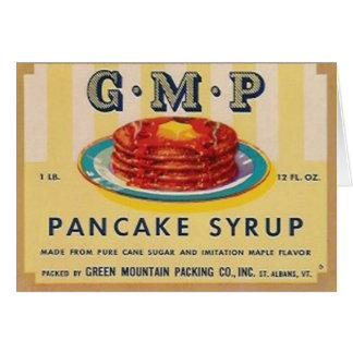 gmp pancake syrup label greeting card