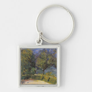 Gmunden in the background by Richard Gerstl Silver-Colored Square Keychain