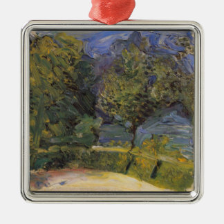 Gmunden in the background by Richard Gerstl Square Metal Christmas Ornament