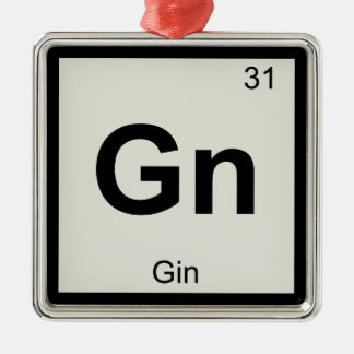 Gn - Gin Chemistry Periodic Table Symbol Square Metal Christmas Ornament