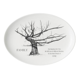 Gnarled Old Tree with Quote about FAMILY, Pencil Porcelain Serving Platter