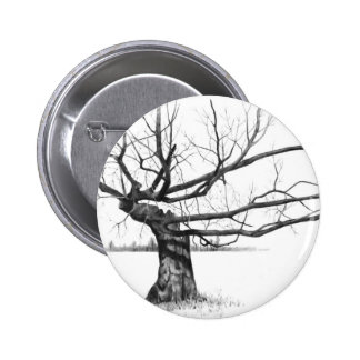 GNARLY OLD TREE: PENCIL REALISM ART BUTTON