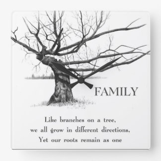 Gnarly Old Tree: Quote: FAMILY: Pencil Art Square Wall Clock