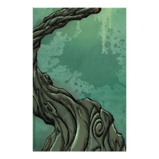 Gnarly Tree and Crescent Moon Stationery