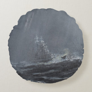 Gneisenau Storm in the North Sea 1940. 2006 Round Pillow