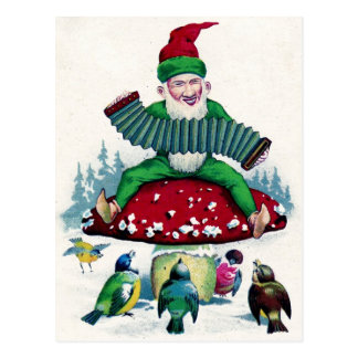 Gnome and Birds Sing and Celebrate Post Card
