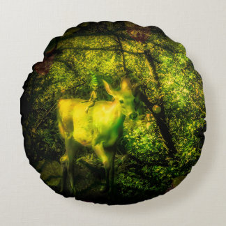 Gnome and Faun in an Enchanted Forest Round Pillow