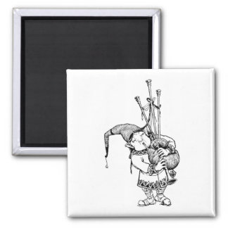 Gnome and His Bagpipes Refrigerator Magnet