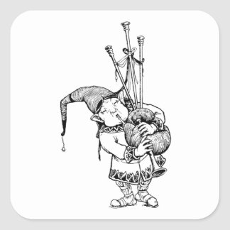 Gnome and His Bagpipes Square Sticker