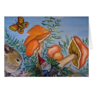 Gnome and Mushrrooms Greeting Card