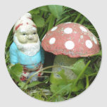 Gnome and Toadstool Round Sticker