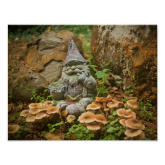 Gnome and toadstools Impish Mossy Poster
