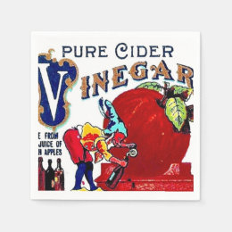 Gnome Apple Cider Vinegar Vintage Bottle Label Paper Napkin