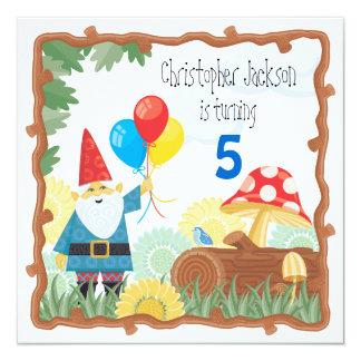 """Gnome Birthday Invitation 5.25"""" Square Invitation Card"""
