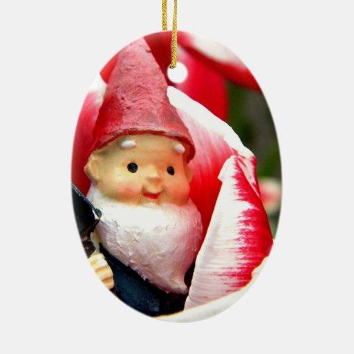 Gnome Blossom Double-Sided Oval Ceramic Christmas Ornament