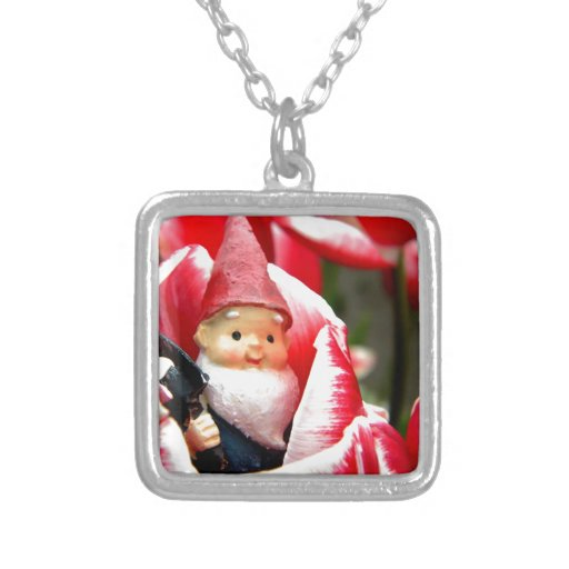 Gnome Blossom Square Pendant Necklace