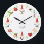 """Gnome-body: Wall clocks<br><div class=""""desc"""">This clock tells a story! At 3 o&#39;clock,  Mr. Gnome starts his day,  seed in hand. At 6 o&#39;clock,  he plants and waters the seed. At 9 o&#39;clock,  he picks a flower for his Love. And at 12 o&#39;clock,  it&#39;s play-time (aka,  hula hoop-time!)</div>"""