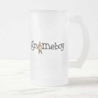 Gnome Boy 16 Oz Frosted Glass Beer Mug