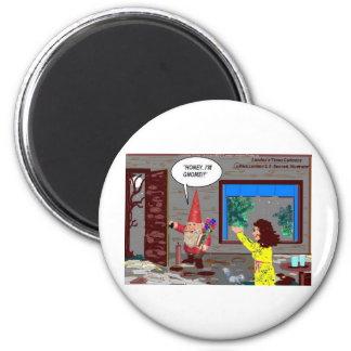 Gnome Cartoon Funny Gifts Tees Mugs Cards Etc 2 Inch Round Magnet