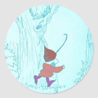 gnome drawing classic round sticker