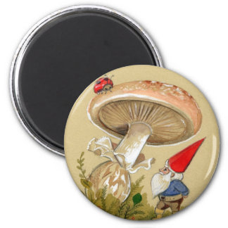 Gnome find a Ladybug and Mushroom 2 Inch Round Magnet