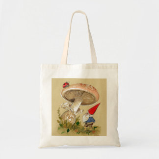 Gnome find a Ladybug and Mushroom Tote Bags