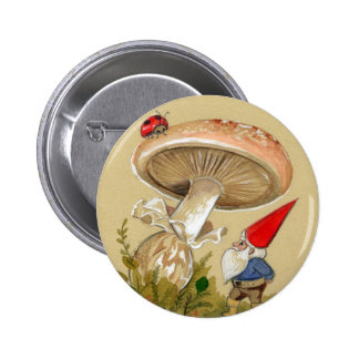 Gnome find a Ladybug and Mushroom Pinback Buttons