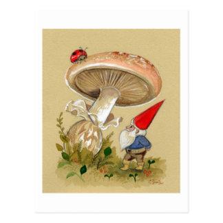 Gnome find a Ladybug and Mushroom Postcard