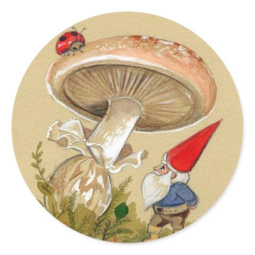 Gnome find a Ladybug and Mushroom sticker