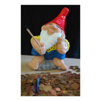 Gnome fishing for money stationery