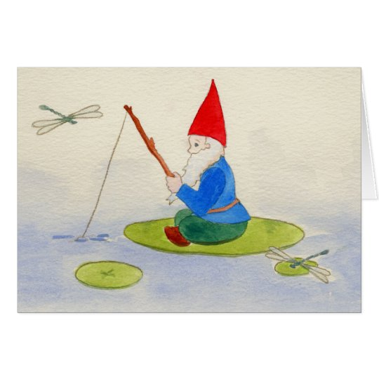 Gnome fishing on lilypad card