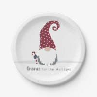 Gnome for the Holidays Scandinavian design Paper Plate