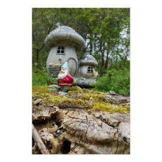 Gnome Garden Mushroom House Poster